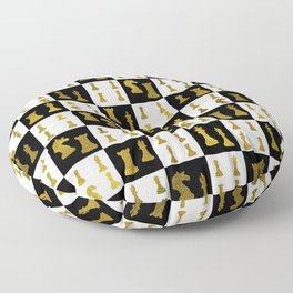 Chessboard and Gold Chess Pieces pattern Floor Pillow