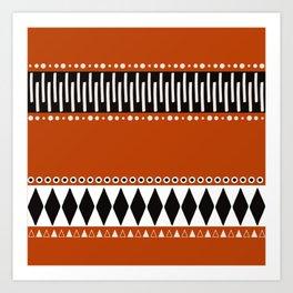 Bohemian orange, black&white tribal vibe Art Print