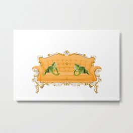 two frogs - yellow baroque couch -  Metal Print