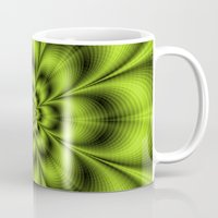 lime green Mugs featuring Lime Green Flower by Objowl