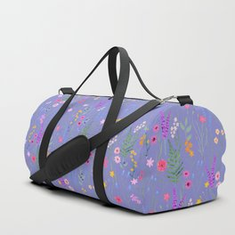 blue meadows colorful floral pattern Duffle Bag