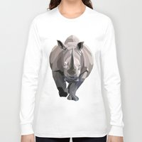 rhino Long Sleeve T-shirts featuring Rhino by Liam Brazier