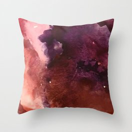 Starlight [2]: a pretty abstract watercolor piece in reds and purples by Alyssa Hamilton Art Throw Pillow