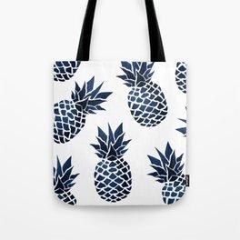 Pineapple Blue Denim Tote Bag