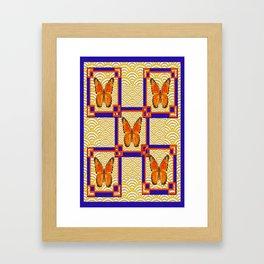 Decorative Monarch Butterflies Lapis Blue Geometrics Design Framed Art Print