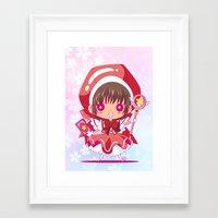 chibi Framed Art Prints featuring Chibi Sakura by Neo Crystal Tokyo