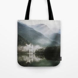Dreamlike Morning at the Lake - Nature Forest Mountain Photography Tote Bag