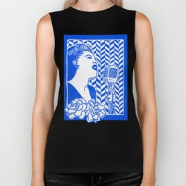 Lady Day (Billie Holiday block print) Biker Tank