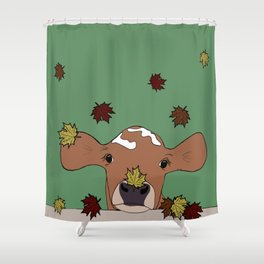 Bessie the Calf and Fall Leaves Shower Curtain