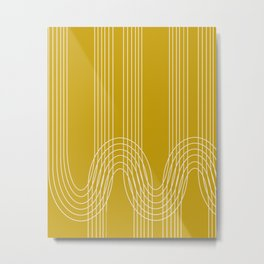 Curves and Line in Golden Mustard Yellow Metal Print