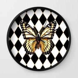 WHITE MONARCH BUTTERFLY & BLACK DIAMONDS Wall Clock