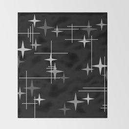 Mid Century Modern Stars (Black) Throw Blanket