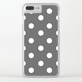 Grey Pastel Polka Dots Clear iPhone Case