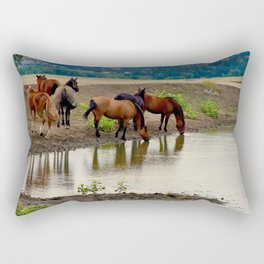 Mustangs at Watering Hole Rectangular Pillow