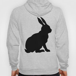 Black Silhouette Sitting Bunny Rabbit Polka Dots on White Hoody