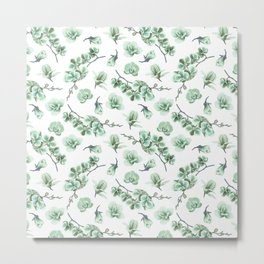 Pastel green watercolor modern orchid floral pattern Metal Print