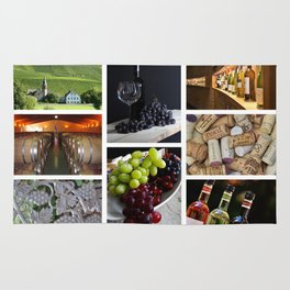 Home Bar Decor - Wine Vineyard Collage Rug