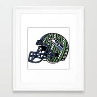 seahawks Framed Art Prints featuring Polynesian Style Seahawks by Lonica Photography & Poly Designs