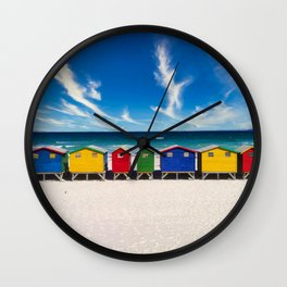 The Colorful Houses on the Beach photograph Wall Clock