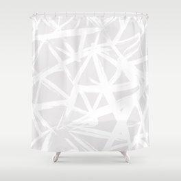 Modern white abstract geometric brushstrokes light grey Shower Curtain