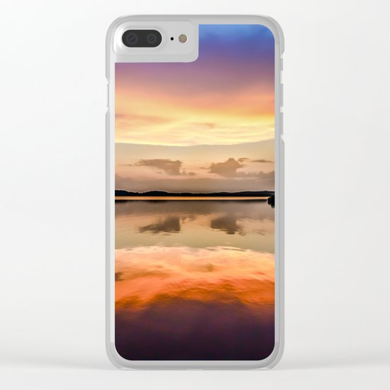 Sunset Symmetry Clear iPhone Case