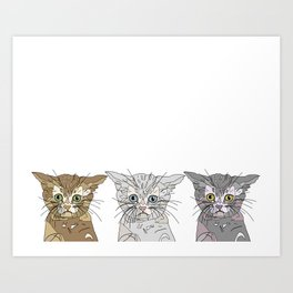 Triple Kitties Art Print