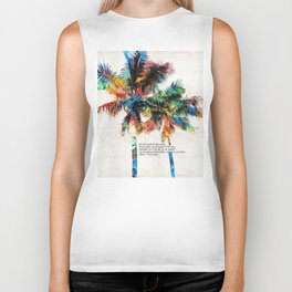 Colorful Palm Trees - Returning Home - By Sharon Cummings Biker Tank