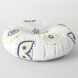 Evil Eye Collection on White Floor Pillow