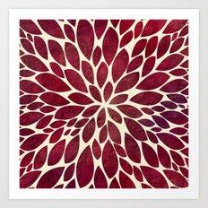 Petal Burst - Maroon Art Print