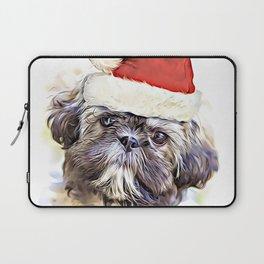 Christmas Shih Tzu puppy Laptop Sleeve