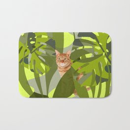 Tropical Jungle with red tiger cat Bath Mat