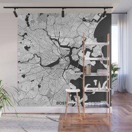 Boston Map Gray Wall Mural