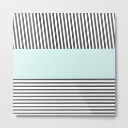 Modern teal black white chic stripes pattern  Metal Print