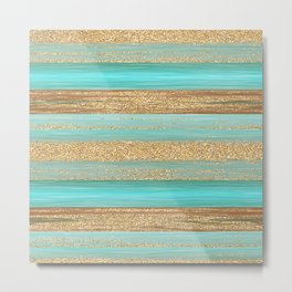 Turquoise Brown Faux Gold Glitter Stripes Pattern Metal Print