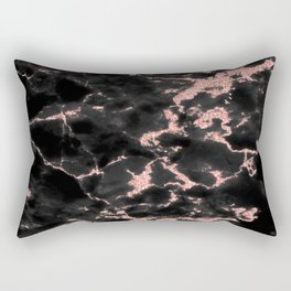 Beautiful Black marble with Glittery Rose Gold Veins Rectangular Pillow