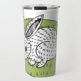 Rabbit on the Green Travel Mug