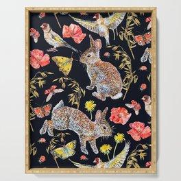 Bunny Meadow Pattern - Dark Serving Tray