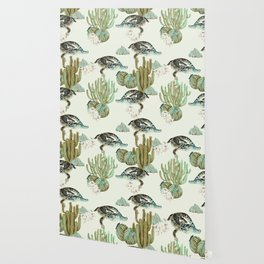 Crocodile pattern on the cactus Wallpaper