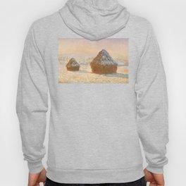 Wheatstacks, Snow Effect, Morning by Claude Monet Hoody