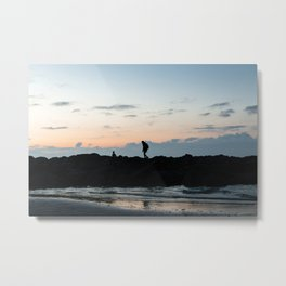 Seaside Sunset Silhouette - Water Reflection Metal Print