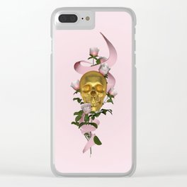 skull + roses Clear iPhone Case