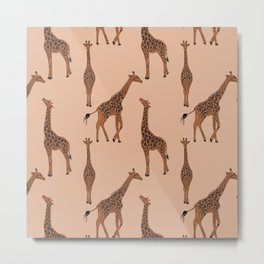 Giraffe neutral pattern Metal Print