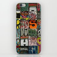 grafitti iPhone & iPod Skins featuring grafitti collage by laika in cosmos