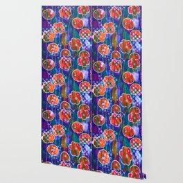 Flower Circles Red Pattern Wallpaper