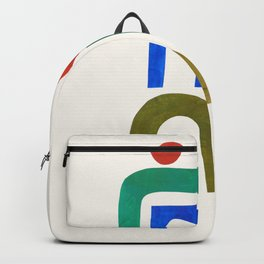'Never Growing Up' by Ejaaz Haniff Minimalist Minimal Colorful Paper Collage Shapes Pattern Mid Century Retro Vintage Style Backpack