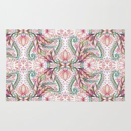 Lily, Leaf & Triangle Pattern – multi-color version Rug