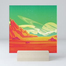 Saturn Rise Midcentury Style Outer Space Illustration Mini Art Print