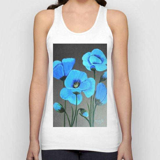 Blue poppies  Unisex Tank Top