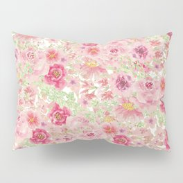 Pastel pink red watercolor hand painted floral Pillow Sham
