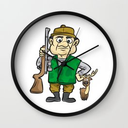 HUNTER WITH DEER Hunting Rifle forester warden Wall Clock